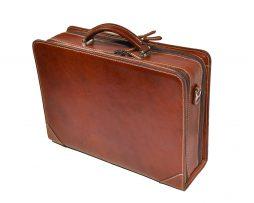 Kožený pracovný kufor č.8156 v hnedej farbe (2)