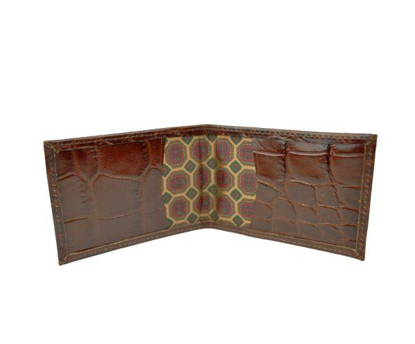 Púzdro z kože na platobné karty, hnedá lesklá hadina (1)