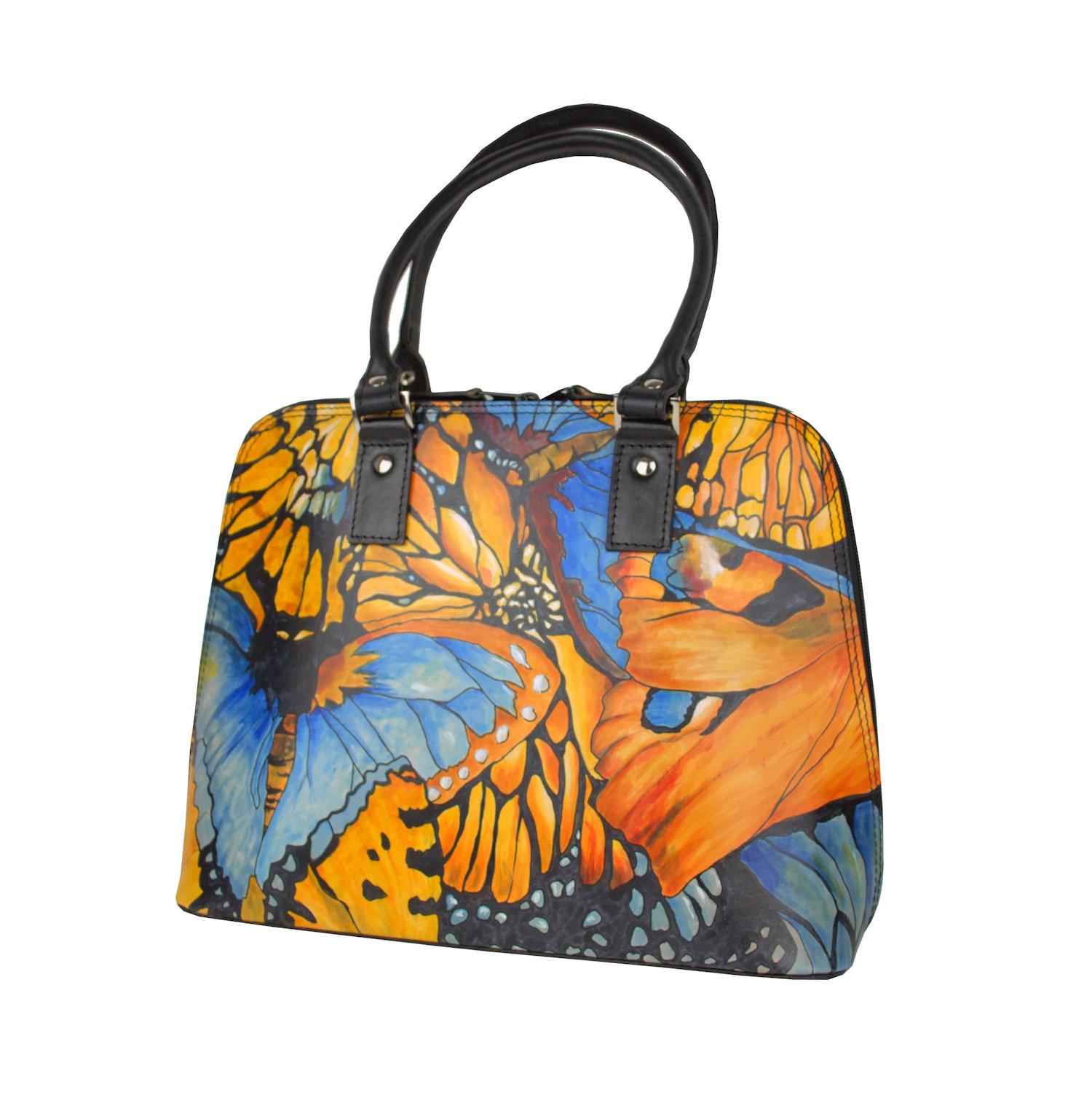 8e0b9bb314 Originálna ručne maľovaná kožená kabelka z pravej kože