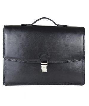 Elegantná kožená aktovka z pravej kože v čiernej farbe č.8170
