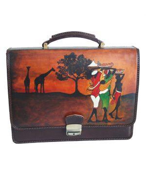 Ručne maľovaná aktovka 8288 s motívom Afriky
