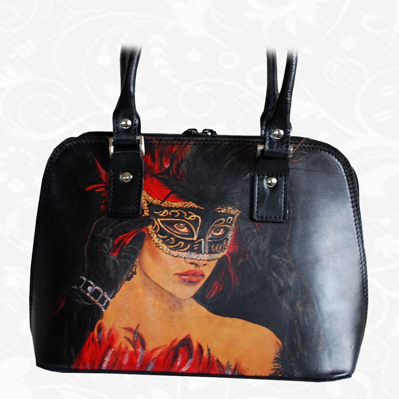 439ce80bc97b Ručne maľovaná kožená kabelka z pravej talianskej kože
