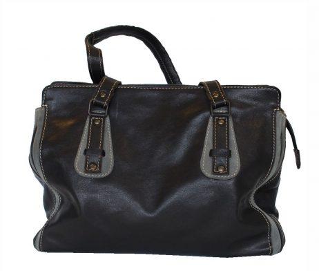 Štýlová dámska kožená kabelka č.8578 v čierno šedej farbe 328910c0228