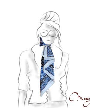 Luxusná Hodvábna šatka - medusa blue - www.mariejean.eu