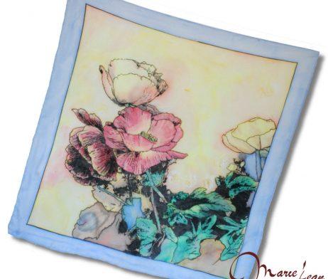 Ručne maľovaná šatka - maky - www.mariejean.eu