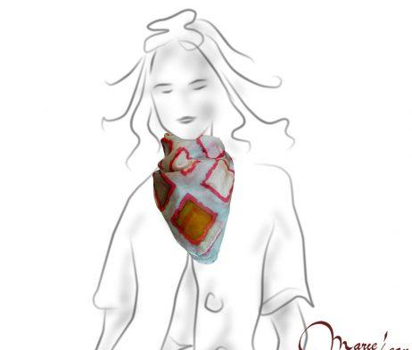 hodvábna šatka - ručne malovana - štvorce - www.kozene.sk