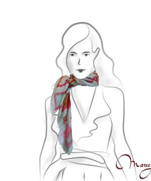 maľovaná hodvábna šatka - štvorce- www.mariejean.eu