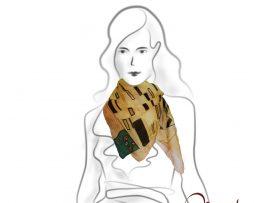 www.mariejean.eu - maľovaná hodvábna šatka - Gustav Klimt - the kiss