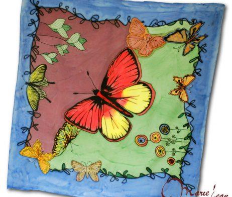 hodvábna šatka motýl - mariejean.eu