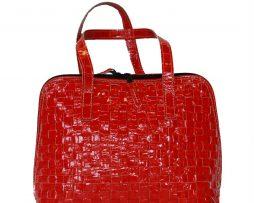 Elegantná pletená kožená kabelka č. 8574 v červenej farbe 4225421bab9