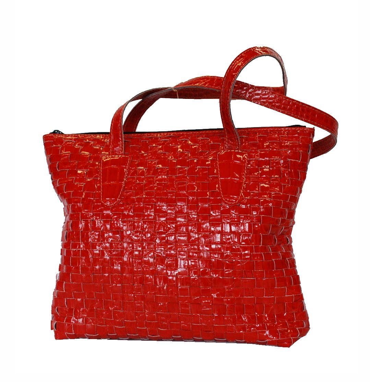 Atraktívna pletená kožená kabelka č.8597 v červenej farbe 7b66b8ff029