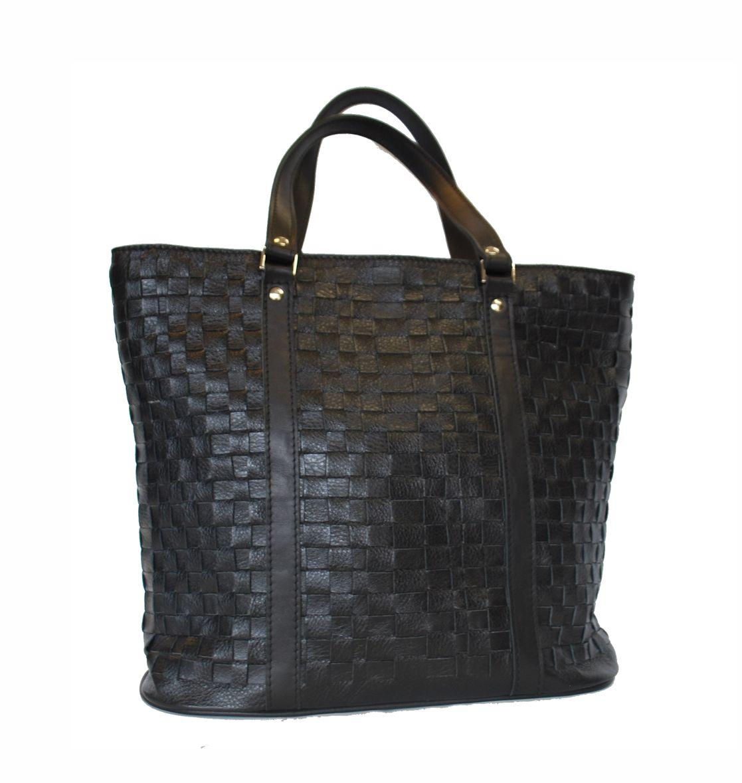 6117dac46a Elegantná pletená kožená kabelka v čiernej farbe