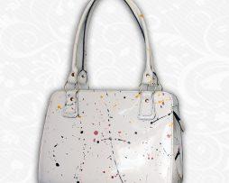 Umelecká ručne maľovaná kožená kabelka z pravej kože