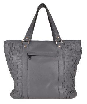 Luxusná pletená kožená kabelka č.8633 v šedo fialovej farbe