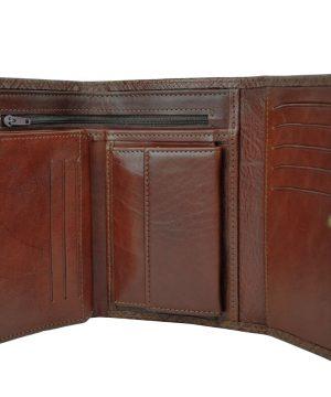 Kožená peňaženka s mriežkovaným dekorom č.8559-1 v hnedej farbe (2)