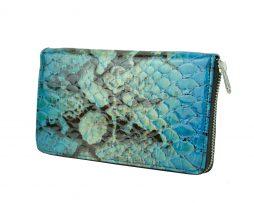 Kožená peňaženka so vzorom hadej kože č.8606 v modrej farbe (2)