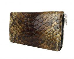 Luxusná kožená peňaženka so vzorom hadej kože č.8606 v hnedej farbe-