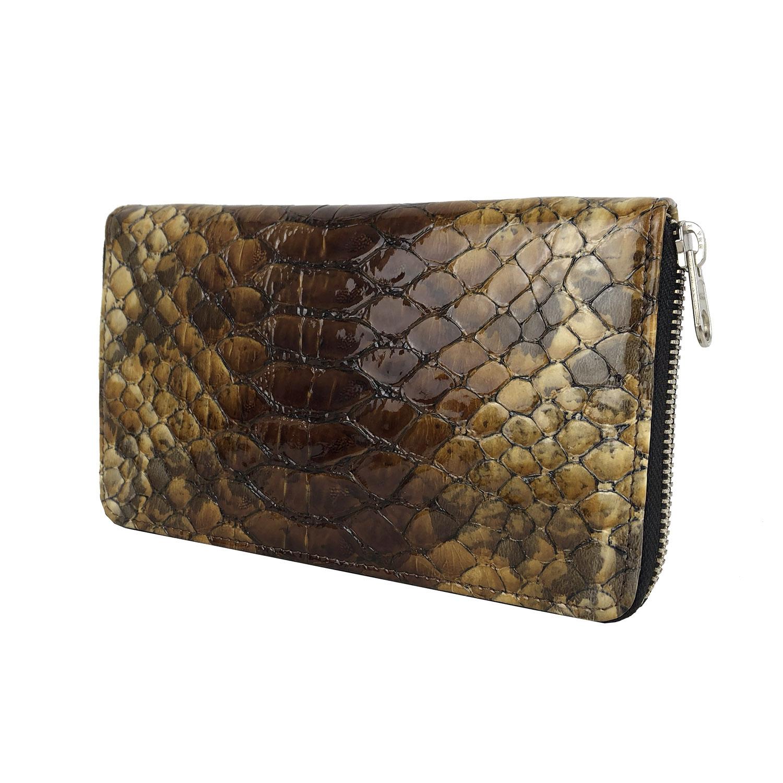 f8af0ecee Luxusná kožená peňaženka so vzorom hadej kože č.8606 v hnedej ...