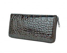 Originálna kožená peňaženka č.86063 so vzorom hadiny v hnedej farbe (1)