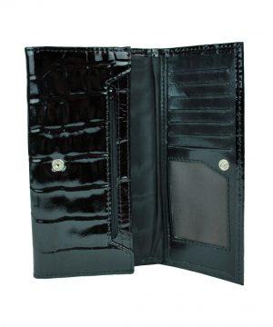 Umelecká lakovaná kožená peňaženka č.7757 so vzorom hadiny v čiernej farbe vyrobená z pravej prírodnej kože dovážanej z Talianska