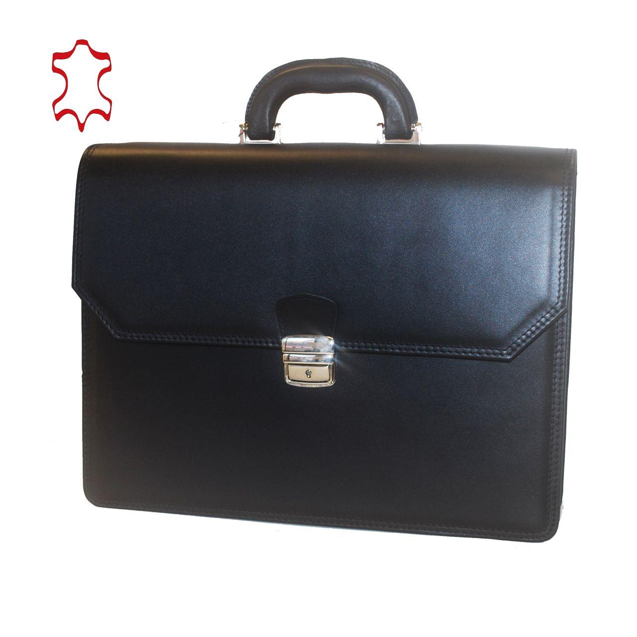 c177ee0877 Kožená aktovka z pravej hovädzej kože č.7898 v čiernej farbe (2)
