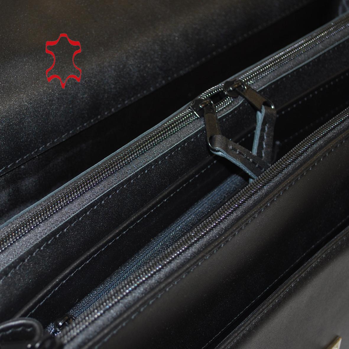 92f6d3bceb Kožená aktovka z pravej hovädzej kože č.8418 v čiernej farbe (1). Kožená ...