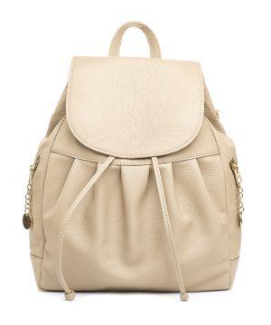 Dámsky kožený módny ruksak 8665u z prírodnej kože v slabo hnedej farb