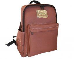 Pánsky ruksak 8670k z impregovaného textilu v hnedej farbe