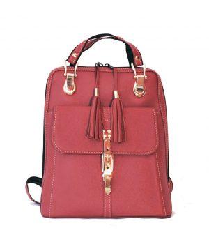 Moderný dámsky kožený ruksak z prírodnej kože v červenej farbe