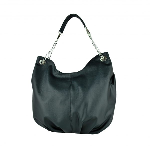 Dámska štýlová kožená kabelka v čiernej farbe (2)