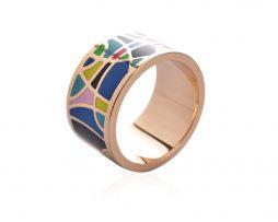 Elegantná brošňa v podobe prsteňa v zlatej farbe - vzor 3