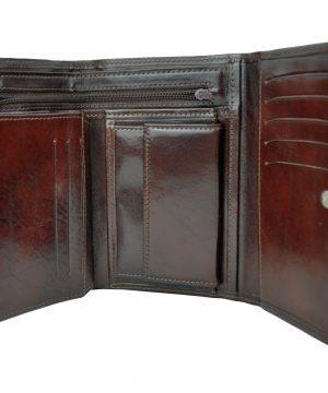 Elegantná peňaženka z pravej kože č.8559 v tmavo hnedej farbe (2)