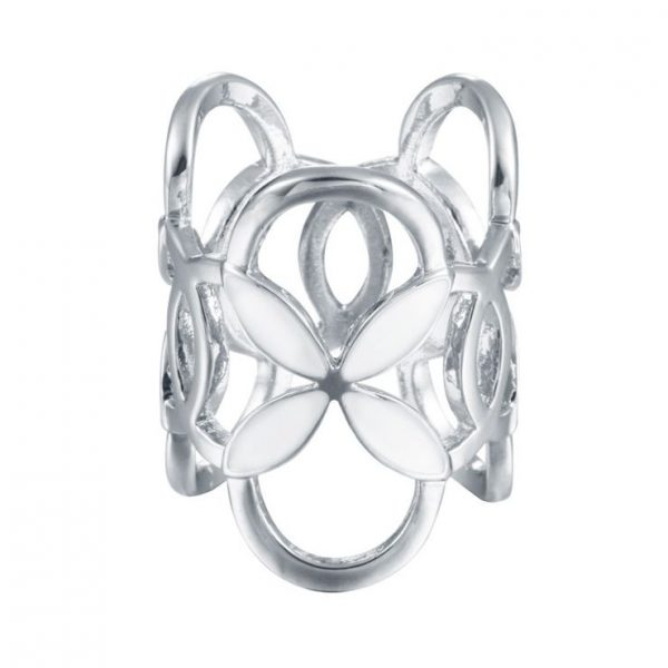 Prstencová ozdoba na šatky s bielymi kvetmi v striebornej farbe. Prstenec je zdobený bielymi kvetmi pre výrazný dizajn (4)