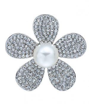 Prstencová ozdoba na šatky s kryštálmi v striebornej farbe. Prstenec je zdobený žiarivými kamienkami (3)