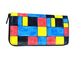 Ručne maľovaná peňaženka inšpirovaná motívom Piet Mondrian (4)