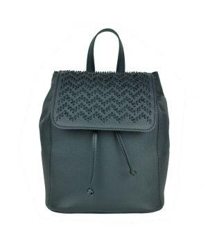 Kožený ručne vyšívaný ruksak v čiernej farbe (5)