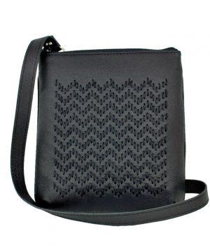 Ručne vyšívaná kabelka z pravej kože v čiernej farbe (2)