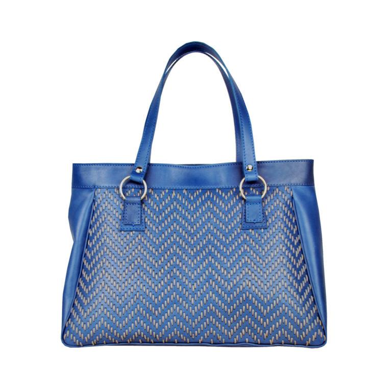 Ručne vyšívaná modrá kabelka z pravej kože - šedé vyšívanie (1)