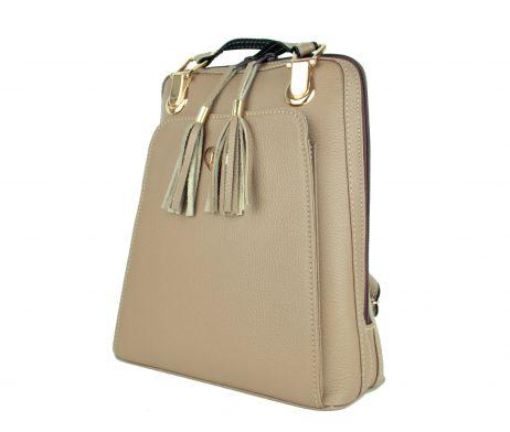 Kožený batoh z pravej hovädzej kože č.8668 v khaki farbe (3)