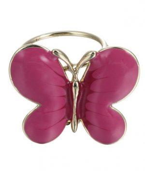 Elegantná ozdobná brošňa pre šatky v tvare ružového motýľa (1)