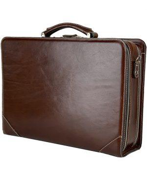 Kožený pracovný kufor č.8156 v tmavo hnedej farbe.