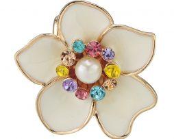 Ozdoba pre šatku v tvare bielej kvetiny s farebnými kryštálmi (3)