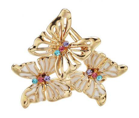 Ozdoba pre šatku v tvare farebných motýľov v zlatej farbe (3)