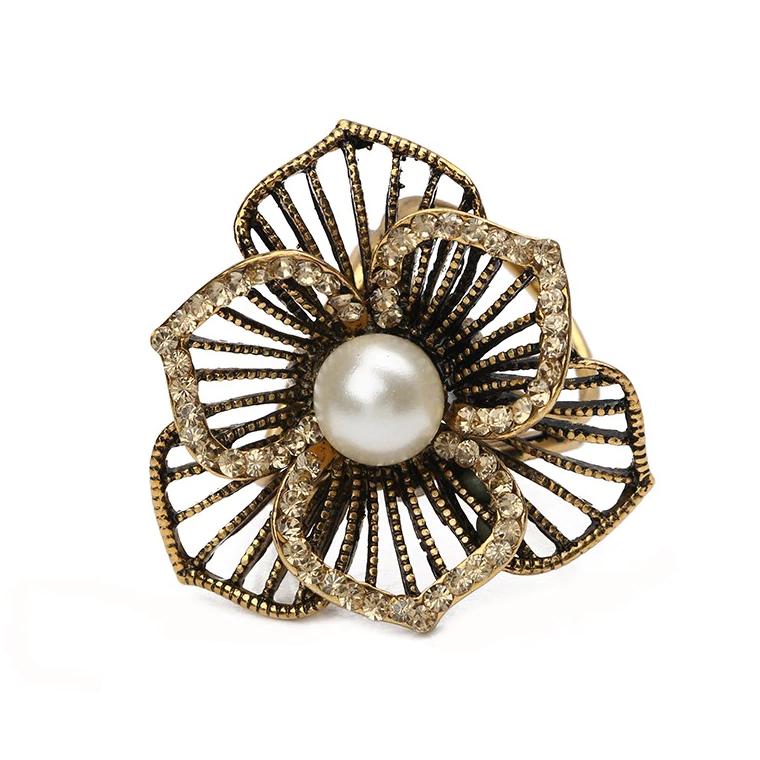 Retro ozdobná brošňa pre šatky v tvare kvetu, staro zlatá farba (5)