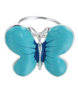 Elegantná ozdobná brošňa pre šatky v tvare modrého motýľa