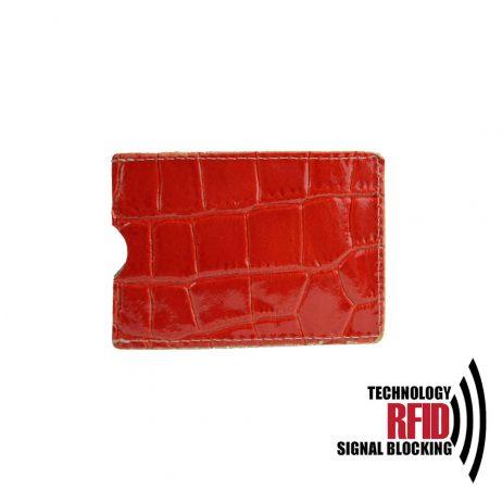 Ochranné kožené púzdro na debetné a kreditné karty, červená farba (2)