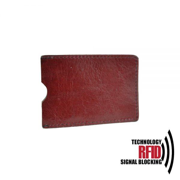 Ochranné kožené púzdro na debetné a kreditné karty, bordová farba (2)