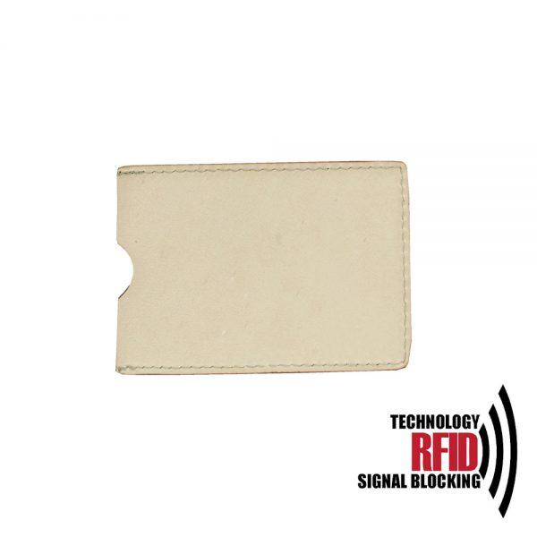 Ochranné kožené púzdro na debetné a kreditné karty, krémová farba (1)