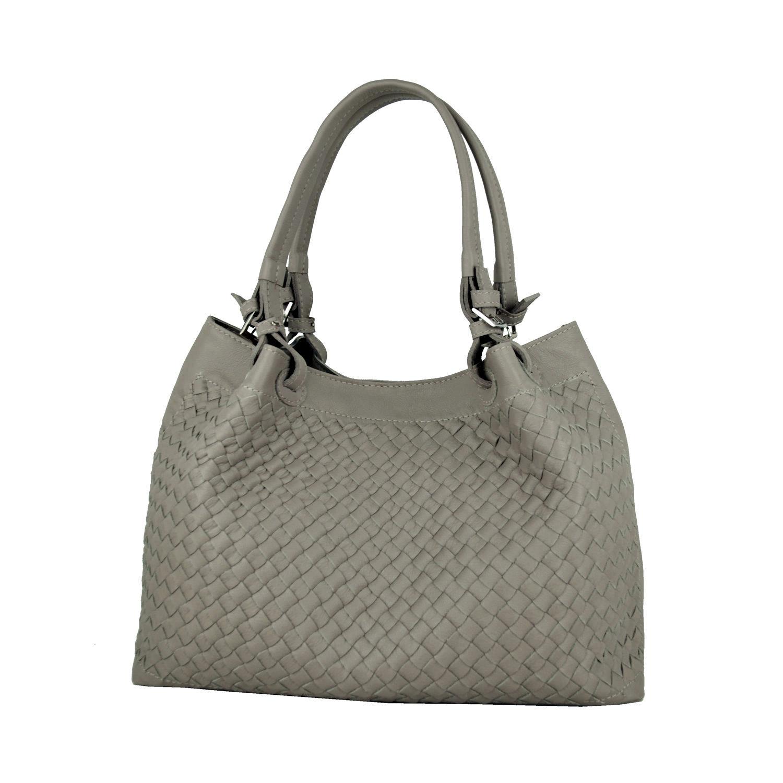 6ccff8bdd4 Ručne pletená kabelka z hovädzej usne v talianskom štýle v béžovej farbe (1)