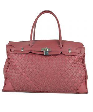 Ručne pletená kabelka z hovädzej usne v talianskom štýle v bordovej farbe (5)
